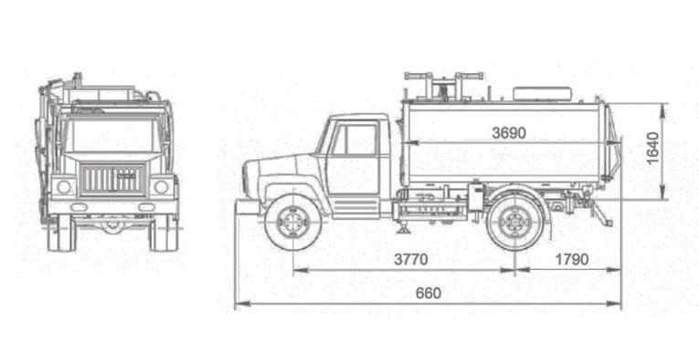 Схема мусоровоза КО-440-2