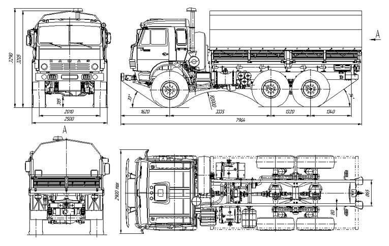 Габариты КАМАЗ 4310, схема